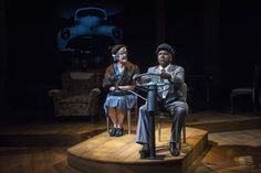 Sally Edmundson and Byron Jacquet in Stages Repertory Theatre's production of Driving Miss Daisy.