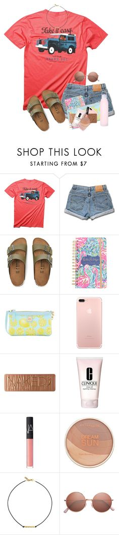 """""""You know you're having fun when you don't know what day of the week it is"""" by zoejm ❤ liked on Polyvore featuring Birkenstock, Lilly Pulitzer, Dooney & Bourke, Urban Decay, Clinique, NARS Cosmetics, Maybelline and Vanessa Mooney"""