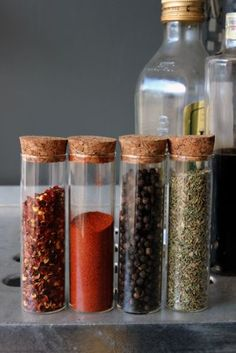 Test Tube Storage with Cork Stopper. Perfect for making salad dressings, store herbs and spices, or mix massage oils.