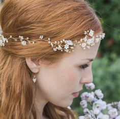 flower pearl and crystal hair garland