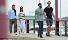 6/25/14 Pippa & James Middleton take a stroll in Maryland after their marathon cycle.