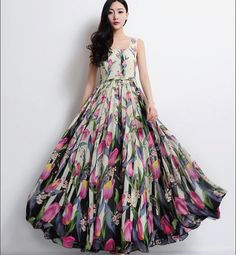 Pink Tulip Floral Aline Strap Dress Bohemian Boho by ChineseHut, $139.00
