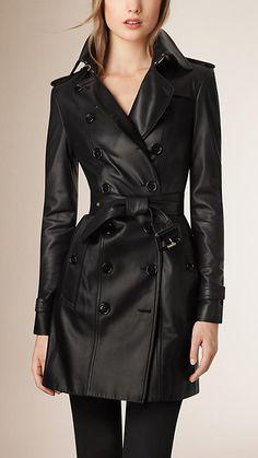 Nero Trench coat in pelle di agnello - Burberry