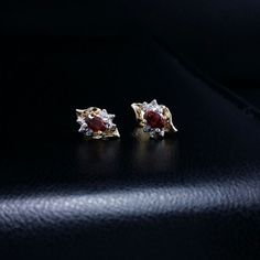 14k yellow gold diamond red garnet stud earrings .62 ct snap closure #GDD #Stud
