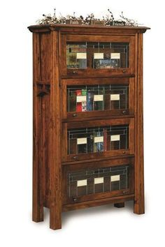 Amish Rustic Cherry Wood Artesa Barrister Bookcase - Quick Ship Unique look with lots of strength, the Artesa contributes to a distinguished office furniture collection. Store books and more on the enclosed shelves and enjoy the beauty of fine wood furniture. #barristerbookcase