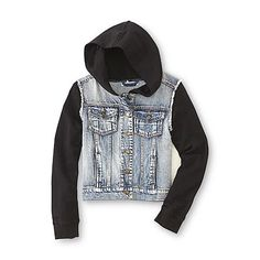 Canyon River Blues Girl's Layered-Look Denim Hoodie Jacket