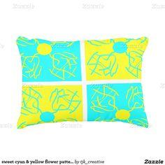 sweet cyan & yellow flower pattern decorative pillow