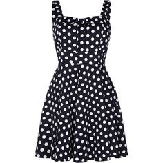 Quiz Navy Polka Dot Strap Skater Dress ($47) ❤ liked on Polyvore