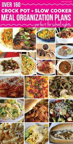 Comidas - Meals - Over 160 Crock Pot and Slow Cooker Meal Organization Plans Crock Pot Food, Crockpot Dishes, Crock Pot Slow Cooker, Slow Cooker Recipes, Crockpot Recipes, Cooking Recipes, Healthy Recipes, Cooking Tips, Crock Pots