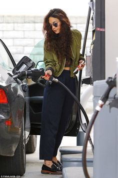 Gimme Gas: Vanessa Hudgens pumped her own gas in LA while simultaneously showing off her b...