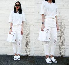 Sheinside White Short Sleeve Split Slim Dress, Sheinside White Ripped Slim Denim Pant, Missguided Pointed Slip On Pumps, Forever 21 Men's Rolled Top Clutch