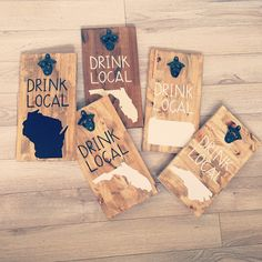 """state decal """"drink local"""" bottle opener signs"""