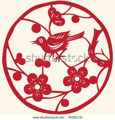 stock vector : Traditional Chinese paper cutting. Bird. Nightingale. Vector