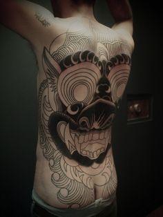 ⟐ in progress , second session ⟐ Guy Le Tattooer back piece Dream Tattoos, Badass Tattoos, Back Tattoos, Tattoos For Guys, Cool Tattoos, Tatoos, Tattoo Skin, Big Tattoo, Tattoo Time
