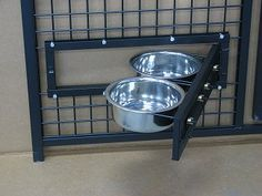Dog Kennel Feeders by Options Plus Dog Kennels. Swing out food and water bowls. These are an excellent idea for kennels who handle dogs with food aggression. Dog Boarding Kennels, Pet Boarding, Dog Kennels, Shelter Dogs, Animal Shelter, Rescue Dogs, Dog Kennel Designs, Kennel Ideas, Pet Hotel
