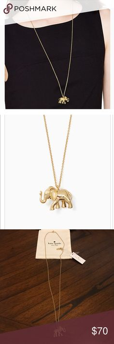 Kate Spade Elephant Necklace NWT Super adorable kate spade necklace featuring an elephant with rhinestones on eyes. New with tags. See product description in pic.  ✔️ Comes with dust pouch. kate spade Jewelry Necklaces