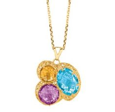 $1,858.00 Sil Novo 14k Gold & and Blue Topaz, Amethyst & Citrine  Necklace