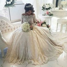 Lace Wedding Dress 2016 Luxury Beading Long Sleeve Muslim Wedding Gowns With Long Train Off Shoulder Vestidos De Noiva Wedding Dresses 2018, Bridal Dresses, 2017 Wedding, Dresses 2016, Cheap Dresses, Dresses Dresses, Long Sleeve Quinceanera Dresses, Extravagant Wedding Dresses, Ugly Dresses