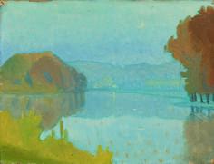 Charles-victor guilloux (1866-1946) - fl la rivière huile sur panneau non signée 21 x 32 cm The River