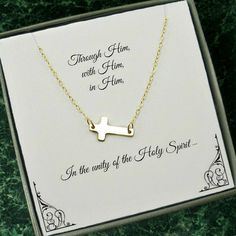 This gold sideways cross necklace is a great gift idea for first communion, confirmation, or Christmas. Comes with a jewelry message card to make your gift even more special and unique. - 16-20 inch 1