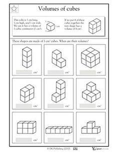 Grade 5 math worksheet - Geometry: volume & surface area of ...