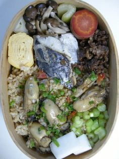 oysters on brown rice  20121120 Lunch