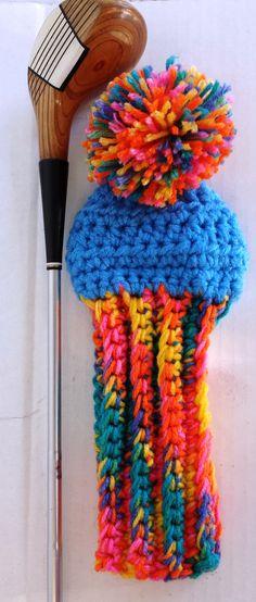 Wild, Fun, Silly Hats, and Custom Golf Club Covers by CrochetedHeadwear Golf Club Head Covers, Golf Club Sets, Golf Clubs, Knitting Projects, Crochet Projects, Yarn Crafts, Diy And Crafts, Golf Wedges, Silly Hats