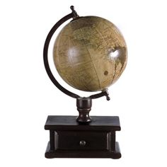 The Imax Globe with Storage features a 6-inch all brown tone globe ball with a semi-meridian atop a brown mango wood stand with an enclosed storage drawer. #imaxglobes #oldworldglobes #antiqueglobes #education #geography #teaching #vintage #toys