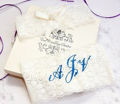 Boxed of 2 garter set personalized Monogrammed wedding garters with Pearls and ivory ribbon.. by realweddinggarters on Etsy