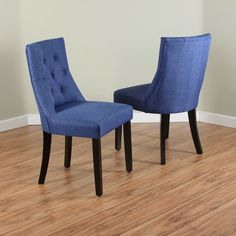 Featuring linen upholstery with button-tufted details, this set of two dining chairs are constructed with durable wood and include S-spring suspension for added comfort. The chairs are offered in a variety of colors, all with dark walnut-finished legs.