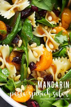 This mandarin pasta spinach salad with teriyaki dressing is easy quick healthy and tossed in the most addictive teriyaki vinaigrette dressing! lecremedelacrumb com pastasalad spinach salads summersalads healthy classic italian pasta salad Pasta Salad With Spinach, Pasta Salad Recipes, Soup And Salad, Spinach Salads, Spinach Salad Dressings, Dressing For Spinach Salad, Quick Salad Recipes, Vegetable Pasta Salads, Orzo Salad