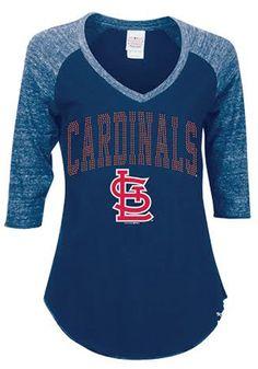 St. Louis Cardinals Womens navy Rhinestone 3/4 sleeve shirt http://www.rallyhouse.com/mlb/nl/st-louis-cardinals/a/womens/b/t-shirts/c/long-sleeve?utm_source=pinterest&utm_medium=social&utm_campaign=Pinterest-STLCardinals $34.99