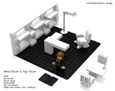 The architectural firm - mini modular building Lego Office, Office Desk, Lego Furniture, Cool Inventions, Furnitures, Legos, Contemporary, Architecture, Building