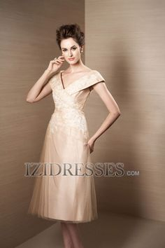 Sheath/Column V-neck Tulle Mother of the Bride Dresses - IZIDRESSES.COM