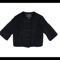 """INTERMIX Black Wool Flannel Cropped Blazer Jacket Mint as new condition. This black wool flannel cropped jacket by Karoo Mark Eisen features a cropped style and 3/4 length sleeves. Button closures. Made of 100% wool. Marked a size 1, which in Mark Eisen sizing is approx a size small. Measures: Bust: 38"""", Total length: 19"""", Sleeves: 15"""" Intermix Jackets & Coats Blazers"""