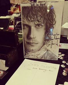 And here it is. The drawing of @marycronos signed by the awesome @samheughan at #ringcon. We just started a silent auction at our booth. Come by and take part! The minimum bidding price is 50€. The auction ends tomorrow at 12am. #outlander #samheughan #jamie #fraser #scottish @caitrionabalfe