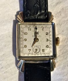 Benrus Art Deco Watch 10K Gold Case Stainless Back Leather Band     GR0804 #Benrus #all