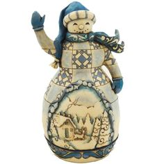 Enesco Jim Shore Heartwood Creek Classic Blue Snowman Figurine, 8-1/4-Inch