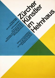 swiss design posters - color shapes cross and blend, setting the right angle of the grid, balancing the text on a new axis. balance of text and hues all adhere to Rule of thirds for a harmonious composition.