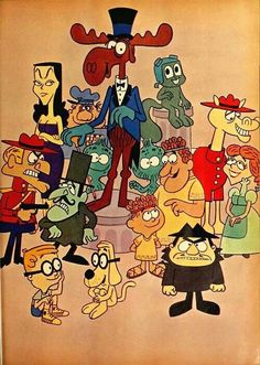 The Rocky and Bullwinkle Show . One of the best parts of the show was Fractured Fairy Tales . it was like watching Mad Magazine in cartoon form . Classic Cartoon Characters, Favorite Cartoon Character, Cartoon Tv, Classic Cartoons, Cartoon Shows, Vintage Cartoons, Retro, Old School Cartoons, 90s Cartoons