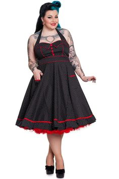 Plus Size Vintage Vanity Dress - Black with White Dots