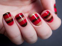 Chalkboard Nails: Chocolate Cherry Stripes - Zoya Cashmere Nail Art