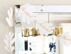 Make this fall paper garland. Get your free printable and create this easy garland to decorate a mantel, window, front door or mirror. Choose from the words, Thankful and Autumn or print out both. Thanksgiving Place Cards, Thanksgiving Pictures, Porch Decorating, Decorating Your Home, Halloween Porch Decorations, Front Doors With Windows, Fall Garland, Rustic Fall Decor, Easy Diy Crafts