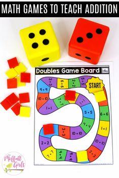 Print and play games- Fun math games to teach basic addition in First Grade! 1st Grade Math Games, Easy Math Games, Kindergarten Math Games, Math Games For Kids, Math Literacy, Homeschool Math, First Grade Math, Math Classroom, Math Activities