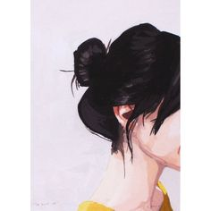 """hair art - """"Top Knot giclee print- hair art – """"Top Knot giclee print This is a giclee print of my original gouache painting of a woman with a top knot. image printed on high quality 5 x 7 50 lb - Michigan, Cover Wattpad, Pinturas Disney, Painting Of Girl, Drawing Artist, Gouache Painting, Painting Art, Hair Painting, Art Paintings"""