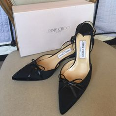Jimmy Choo black satin heels Jimmy Choo black satin pointed toe with silver tone stone buckles. D' Orsay sling back heels. Worn 1 time for event. Box included Jimmy Choo Shoes Heels