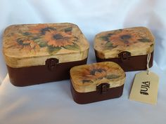 Three wooden chests with sunflowers Made by Juja.