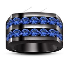 3.24 Round Blue Sapphire 14kt Black Gp 925  Silver Men's Wedding Band Ring #br925 #WeddingBandRing