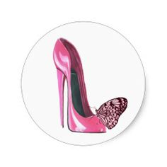Pink Stiletto Shoe and Pink Butterfly Round Stickers