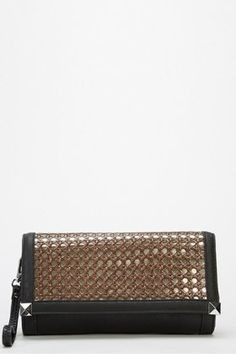 Faux Leather Woven Panel Clutch